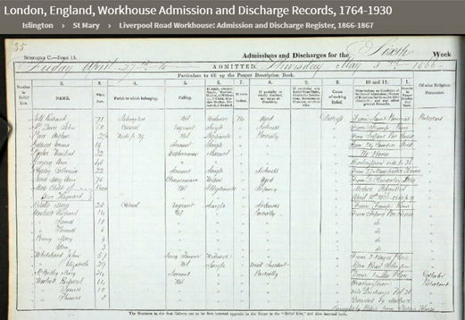 Liverpool Rd Admissions Mary Jones Cloudesley Street 1866